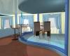 Гостиная в коттедже,совмещённая с кухней.