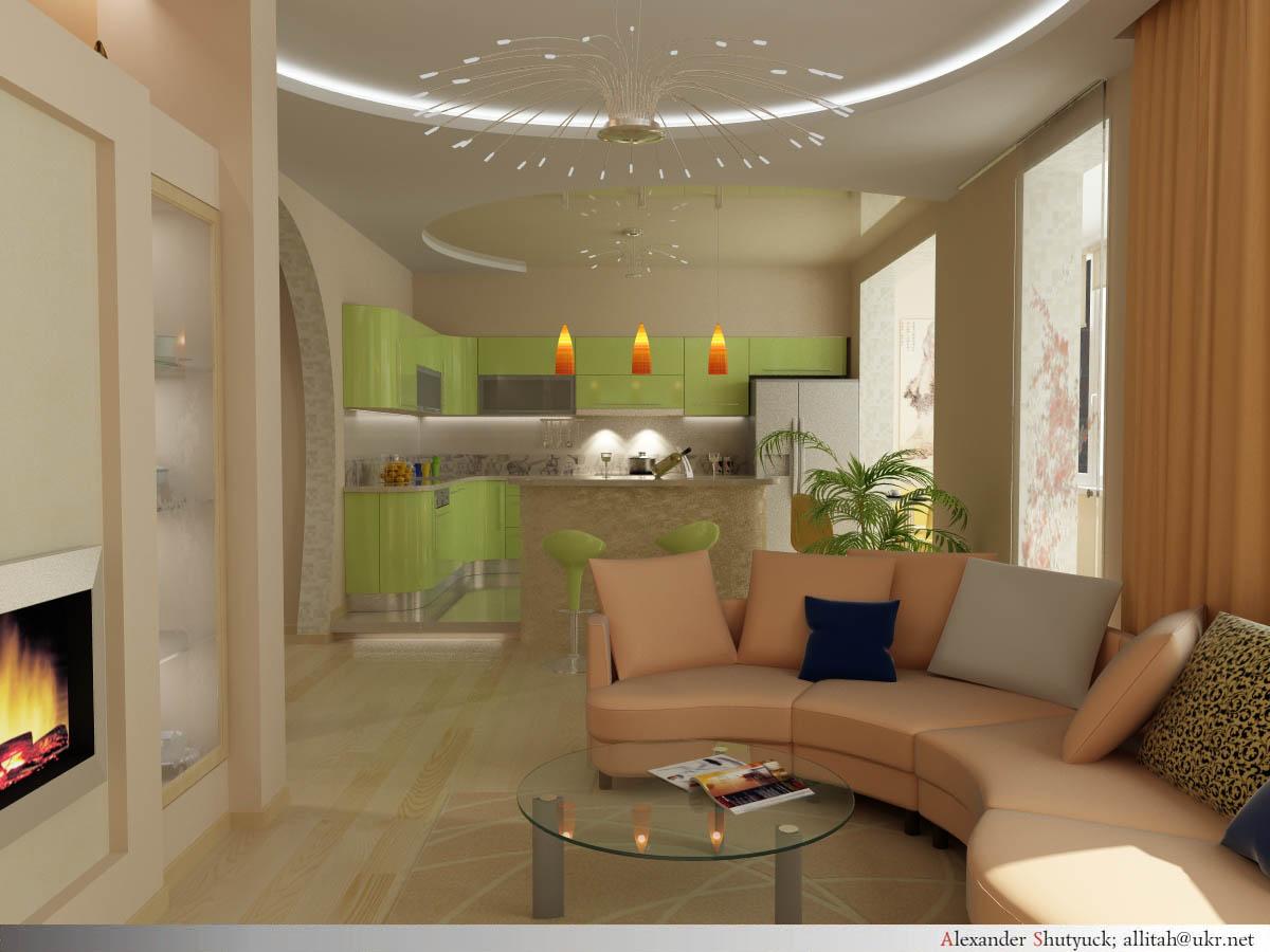 Кухня с гостинной вместе фото
