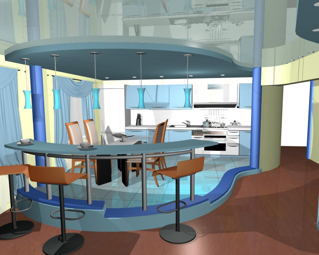 Кухня с гостиной в коттедже дизайн