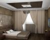 Шоколадно-кофейная спаленка с решением для низких потолков